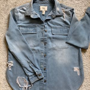 Forever 21 Distress jean button up shirt